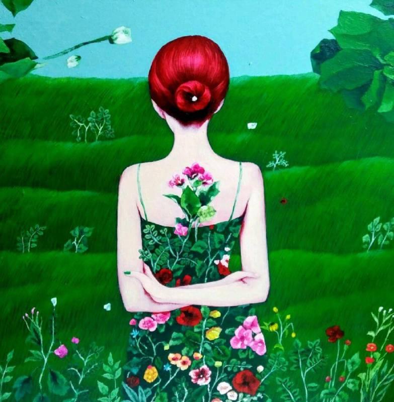 林恩嬉,Bad Flower Garden,2017,綜合媒材、韓國紙,61x61cm