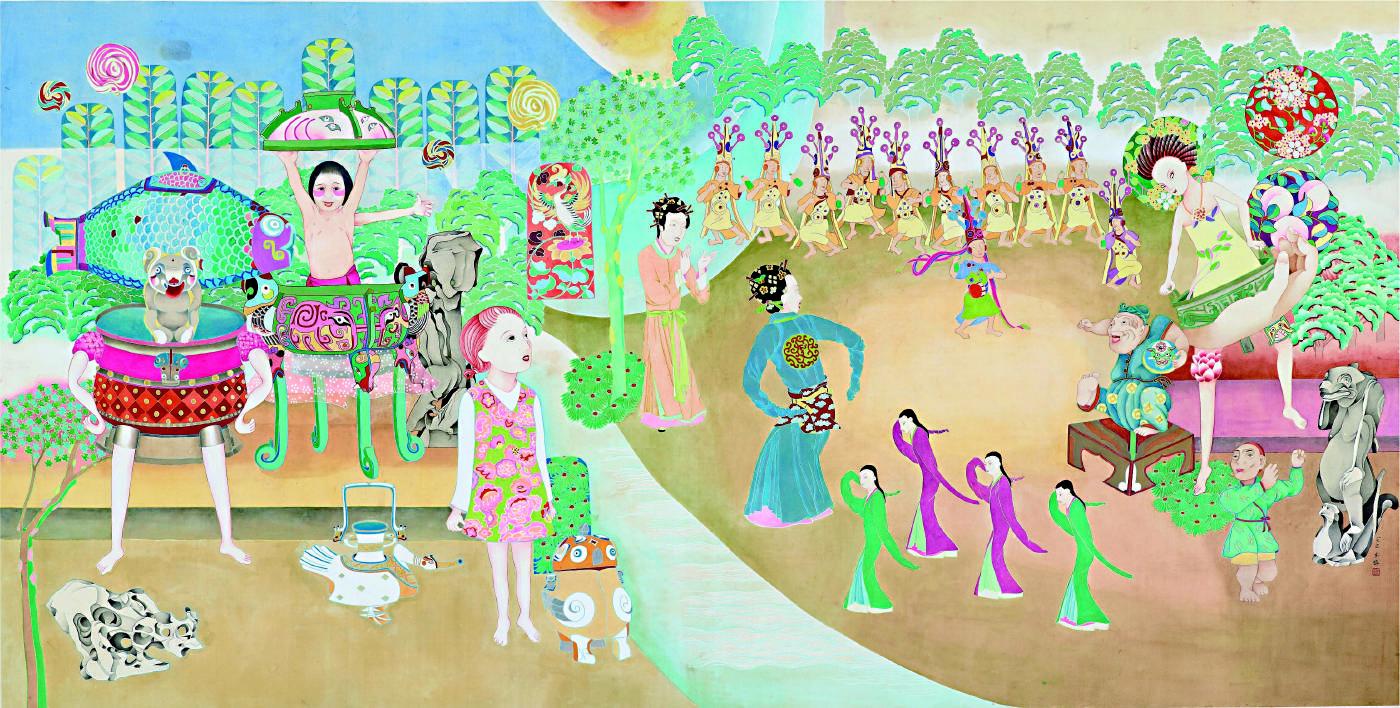 袁旃〈遊園驚夢〉2013,重彩、絹本,112220 cm,藝術家自藏