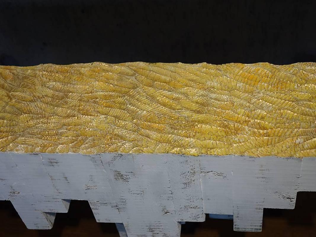 水谷篤司│黄金海原│26×55×13 cm│松木、日本画顔料、岩彩、壓克力顔料│2014