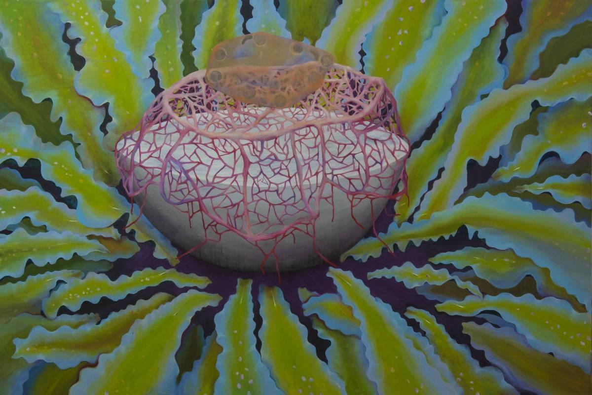 「捕夢網Dream Catcher」150x100cm_無酸樹脂、浮石粉、壓克力、畫布_2016