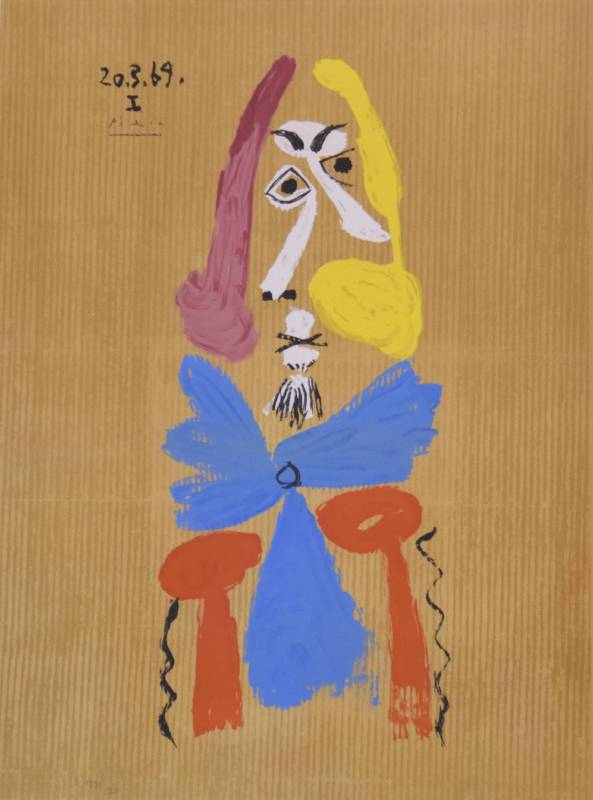 畢卡索〈20.3.69 II, 想像中的人物肖像〉彩色石版畫1969-1972。圖/國立臺灣美術館提供。