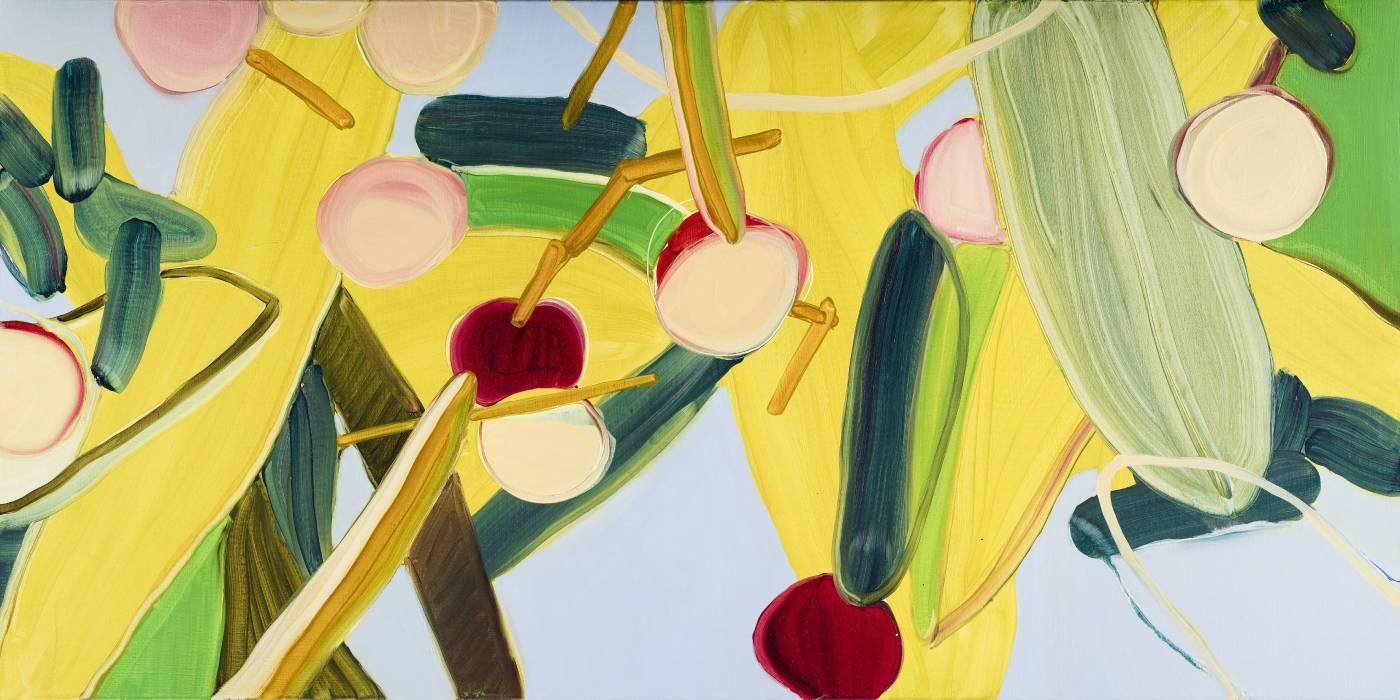 黃華真,透光的葉子The leaves that transmit light,布上油彩oil on Canvas,200x100cm,2017