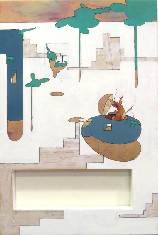 迷霧漂流_水性顏料_金箔_牛皮紙裱於木板_60x90cm_2017