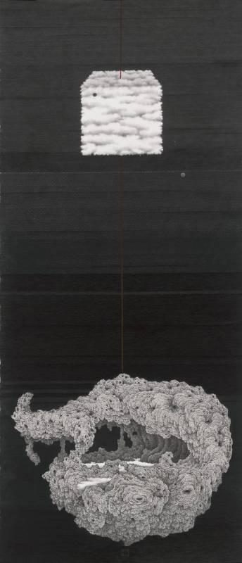 鄧卜君-方雲.懸石-141x61cm-紙上水墨-2016