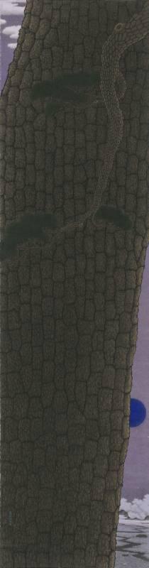 鄧卜君-蒼松引殊月-63x239cm-紙上水墨-2016