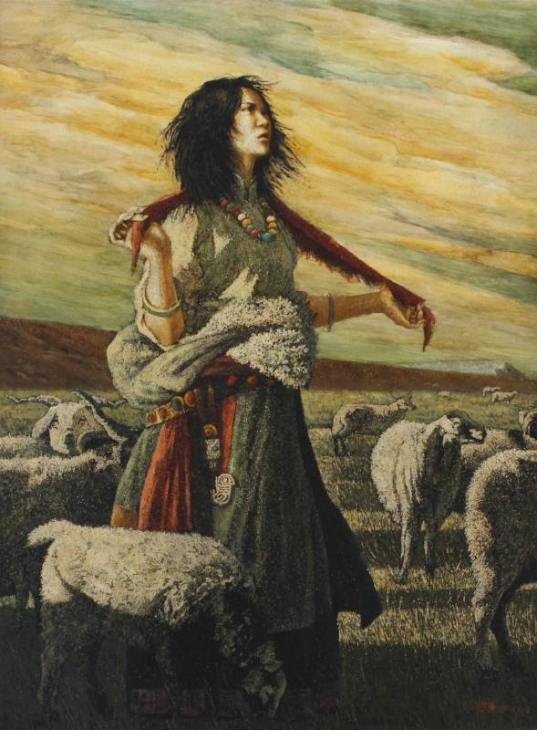 黃匡白,《西藏牧羊女》,2007,漆畫,80x60cm