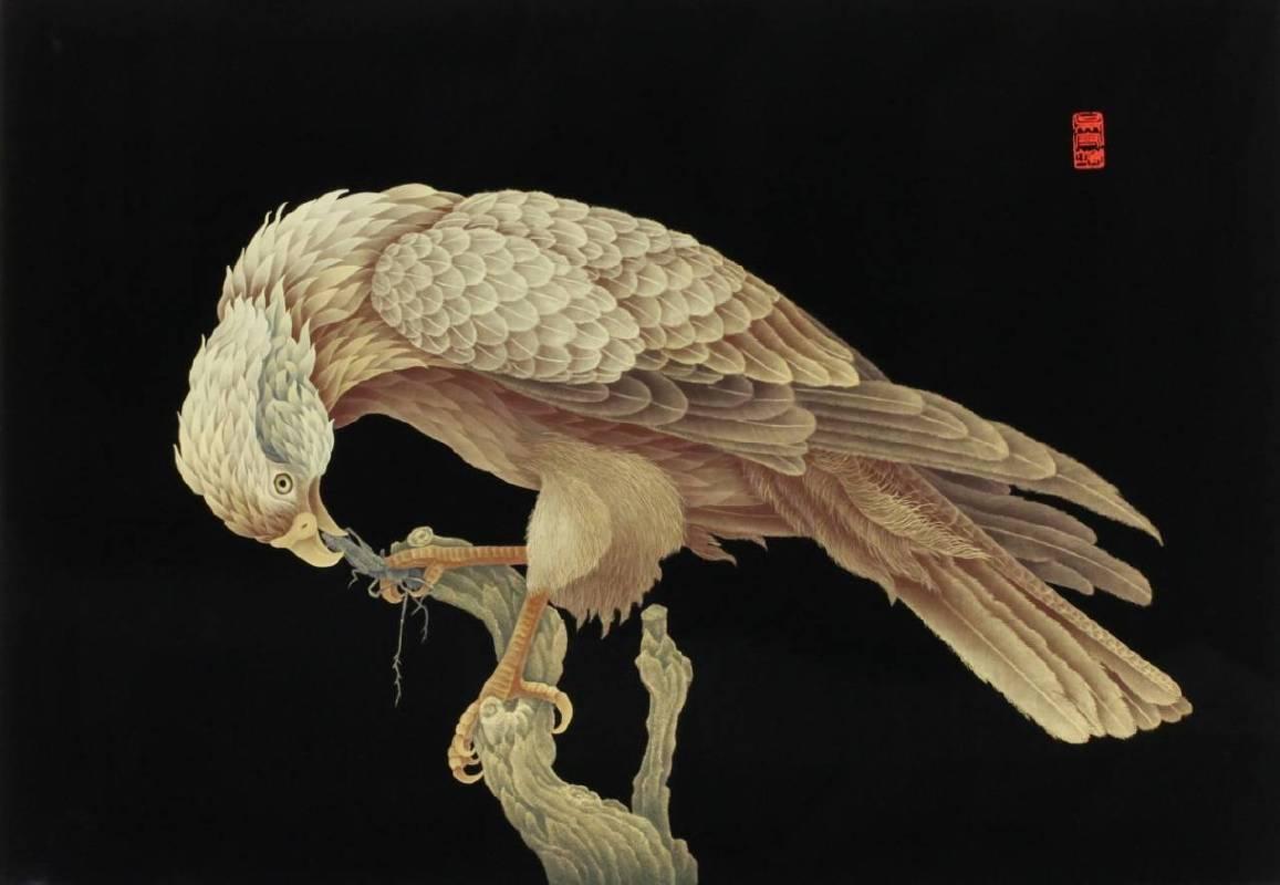吳守端,《灰面狂鷹》,漆畫,70x50cm
