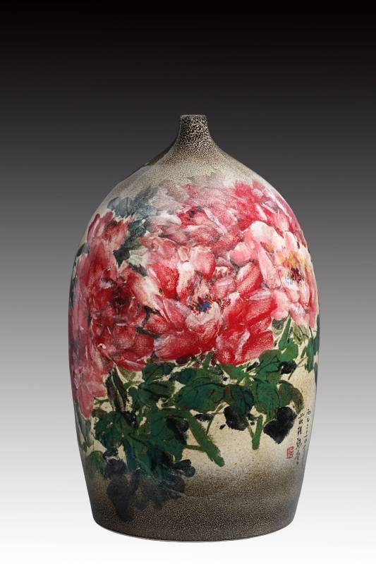 莊桂珠 《花開富貴》 2014  高66公分  彩瓷
