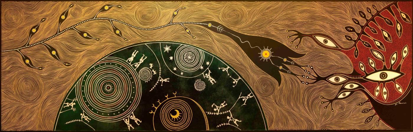 伊誕・巴瓦瓦隆-大地之眼-2016-木板、版畫顏料、壓克力顏料-75x240x5cm