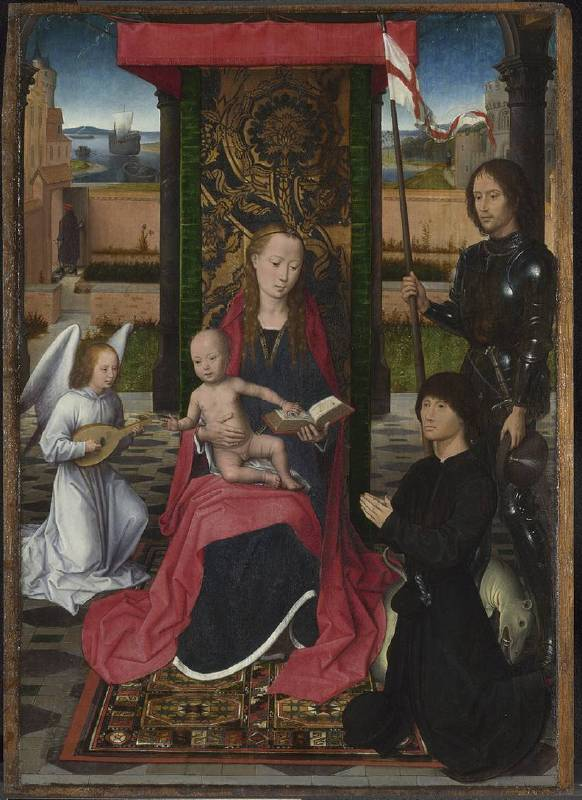 NG686 Hans Memling  The Virgin and Child with an Angel, Saint George and a Donor   About 1480 Oil on oak  54.2 x 37.4 cm  National Gallery, London © The National Gallery, London