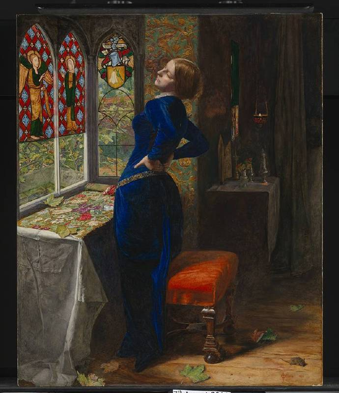 X8890 John Everett Millais Mariana, 1851 Oil on mahogany 59.7 × 49.5 cm © Tate, London (T07553)
