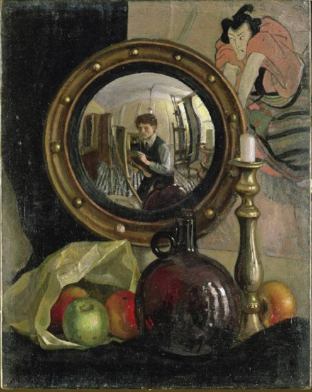 X8900 Mark Gertler Still Life with Self-Portrait, 1918 Oil on canvas 50.8 × 40.6 cm Leeds Museums and Galleries (Temple Newsam) © Leeds Museums and Galleries (Leeds Art Gallery) U.K. / Bridgeman Images