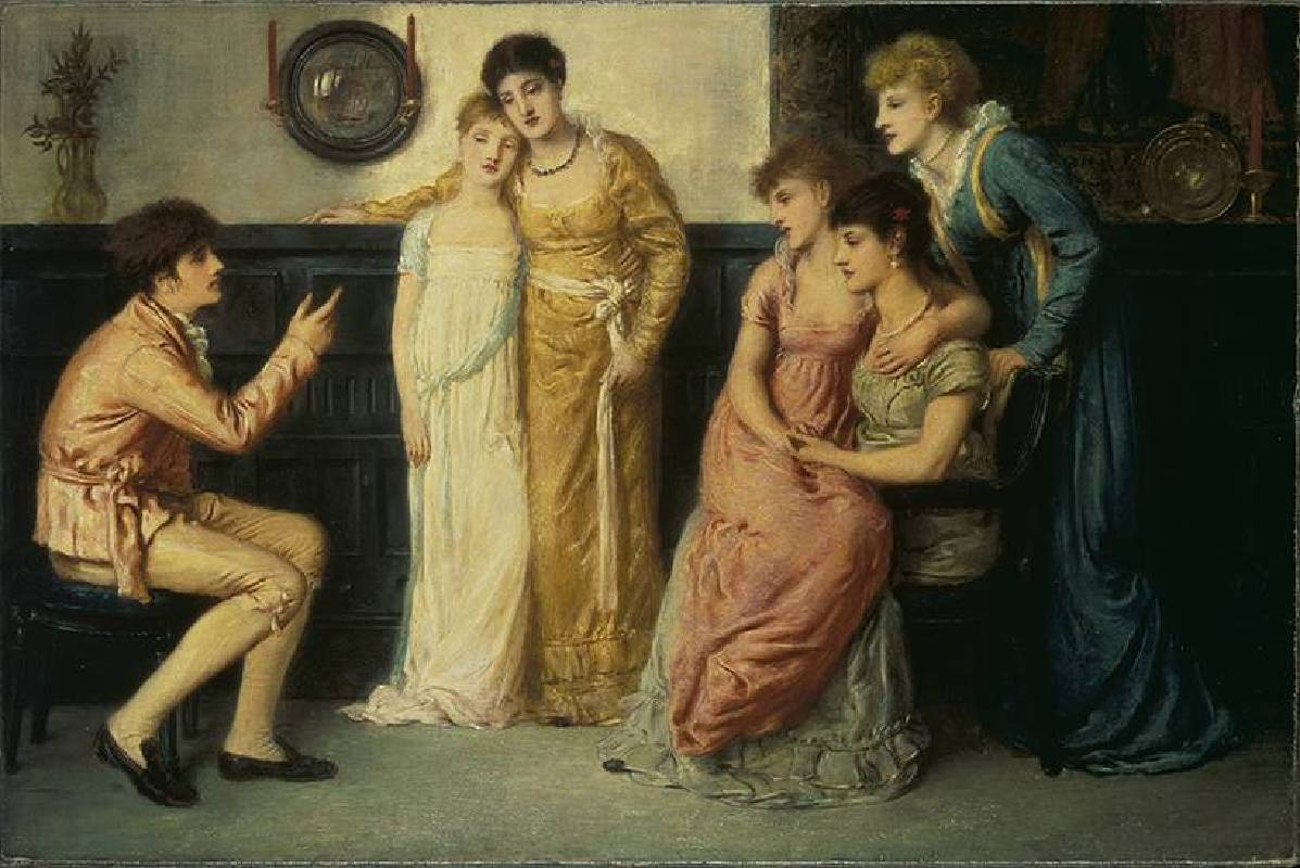 X8901 Simeon Solomon A Youth Relating Tales to Ladies, 1870 Oil on canvas 35.5 × 53.4 cm © Tate, London (T03702)