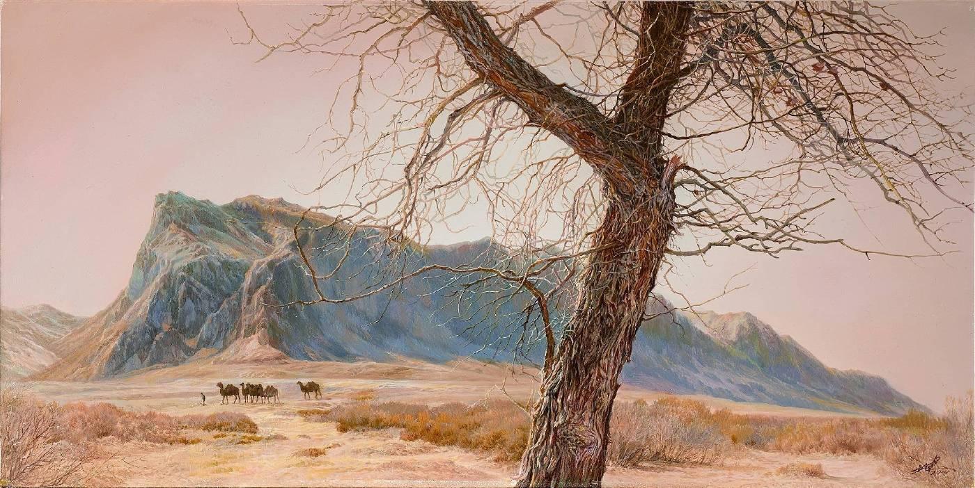 祁連山,30x60CM,木板油畫,2014