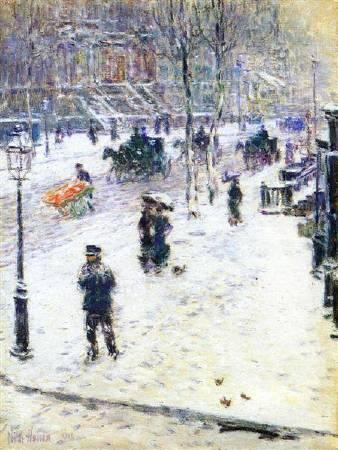 哈薩姆《冬天的第五大道》(Fifth Avenue in Winter) ,1901。