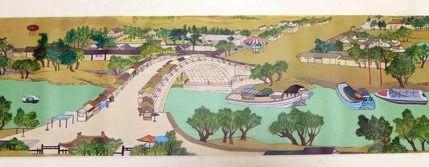 莊宗勳 Chuang Tsung-Hsun_ 清明上河園區,今日公休(局部)Along the River Park During the Qingming Festival - Closed Today(partial_ 2016-2017                   acrylic on canvas                    47.5 x 525 cm