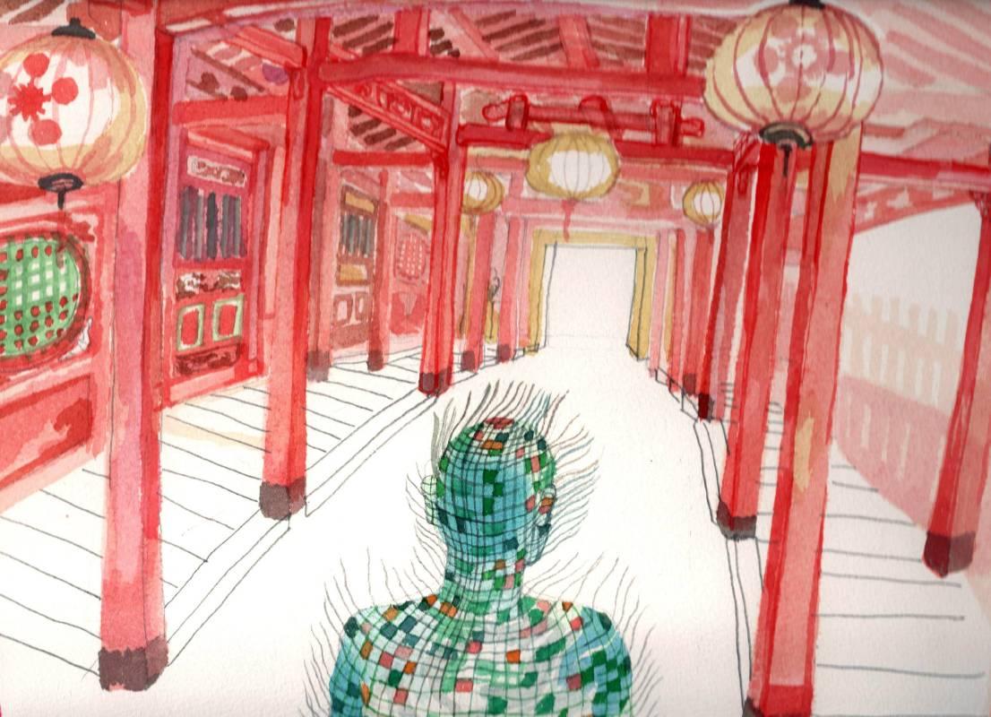 裴公慶_Bui Cong Khanh_ 日本橋 -會安 Japanese Bridge – Hoi An_ 2017_      watercolor on paper  39 x 27 cm