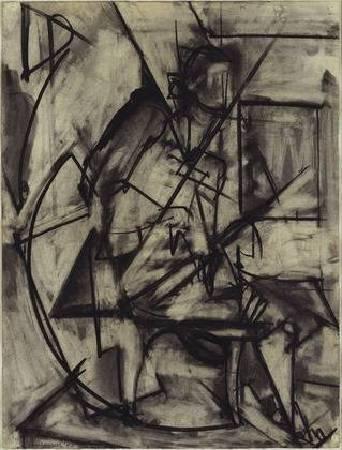 克拉斯納《坐姿裸女》(Seated Nude),1940。圖/取自Wikiart。