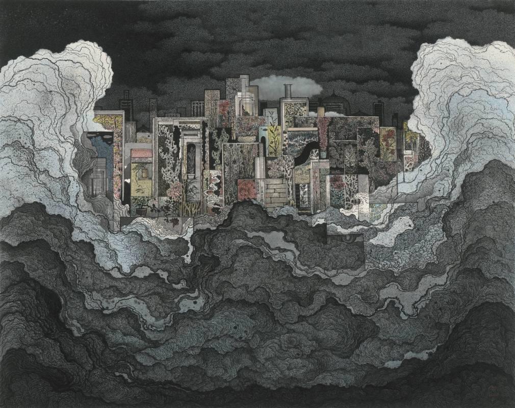 鄧卜君-混沌芳城-77x97cm-紙上水墨-2015