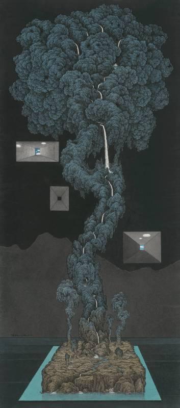 鄧卜君-種石-218x96cm-紙上水墨-2016