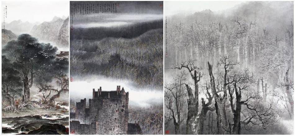 左至右:林章湖,幽居賦閒白鷺影,水墨設色,90x180cm,1983年;逐塵清淨,紙本設色,69x97cm,2000年;阿里雲意,紙本設色,90x93cm,1983年。圖/宏藝術提供。