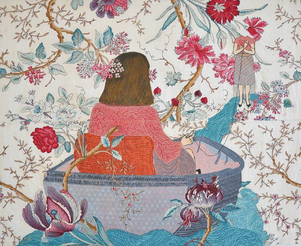 舊場景,新情節/Old scenes new details  2017 木刻版畫、油氈布、十九世紀印花布料及線料/Woodcut and linoleum on 19th Century print, fabric and thread  66.5×82cm