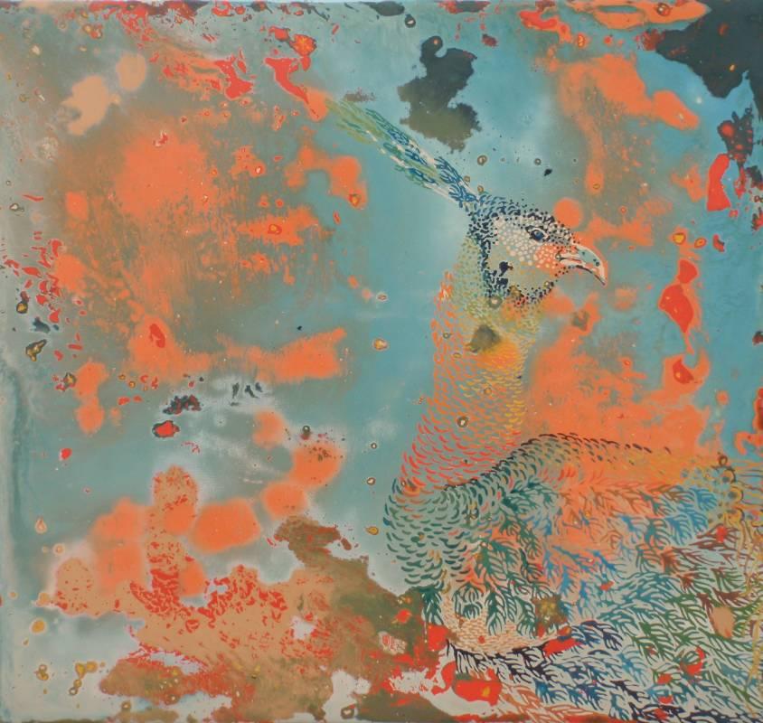 王雯Wen WANG 大隱,鳳穿花II Blossoms, hidden Phoenix II 2015年 30x32cm(4.8F) 大漆於包布木板Lacquer on Package cloth board