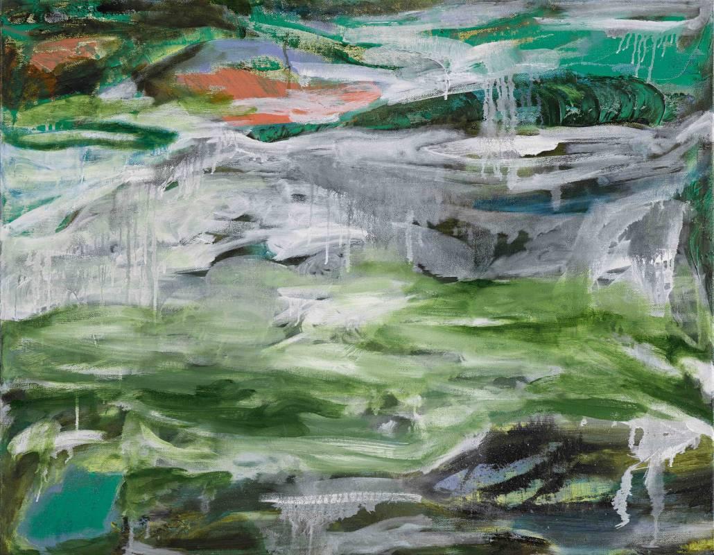 林瓊瑛 心中的一座明潭 116.5x91cm 油彩畫布 2017