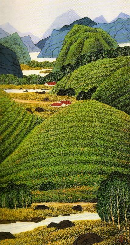 赤科山的金針(1997) 138x75cm