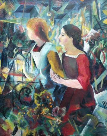 August Macke, Two girls, 1913,圖/取自Wikipedia。
