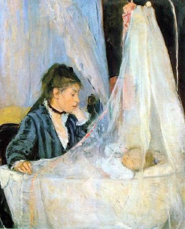 莫莉索《搖籃》(The Cradle),1872。圖/取自Wikiart。