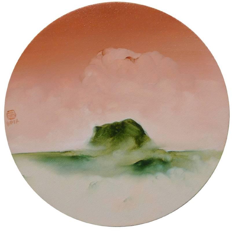 林銓居 <山、島嶼和它的雲朵>,2014,油彩、畫布,直徑 20cm