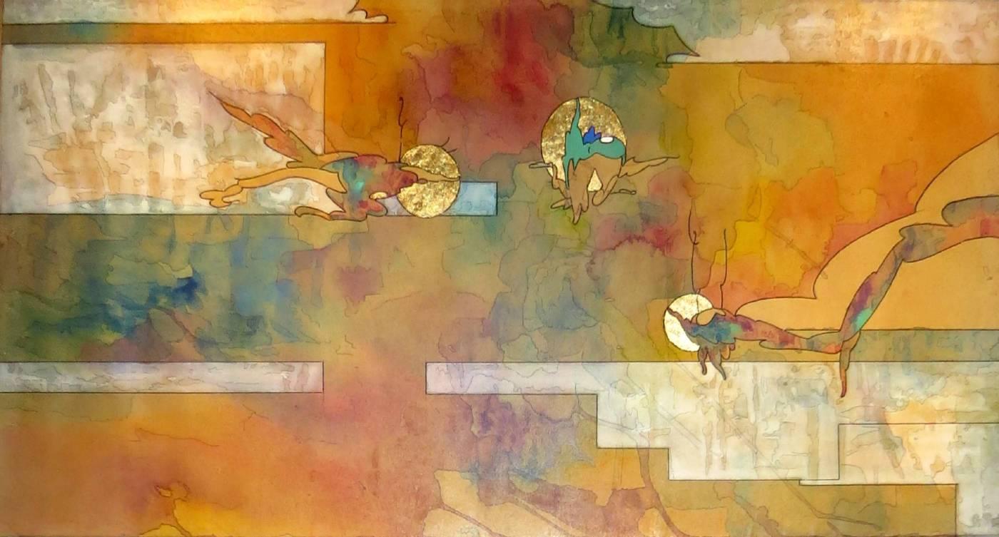 六樓鐵皮 <風起雲散>,2017,複合媒材、木板,90x45cm