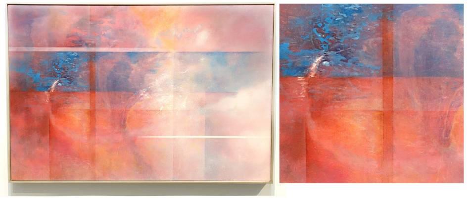 左圖:王建文,觀星者系列I-遠行,油彩、畫布,2017年;右圖:觀星者系列I-遠行(局部,火箭的軌跡)。圖/ 非池中藝術網攝