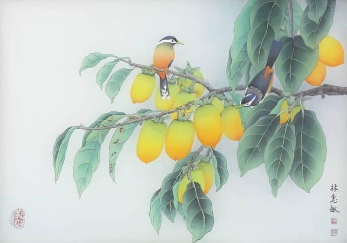 林惠敏  紅柿綠葉滿枝香  56X80cm  膠彩絹本