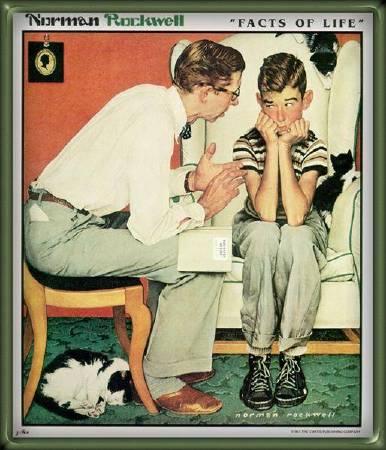 洛克威爾《生命的真相》(Facts of Life),1952。圖/取自Wikiart。