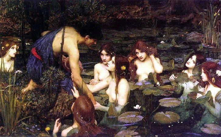 沃特豪斯的作品《海拉斯和水澤女仙》遭曼徹斯特美術館撤下。圖/取自Wikipedia。