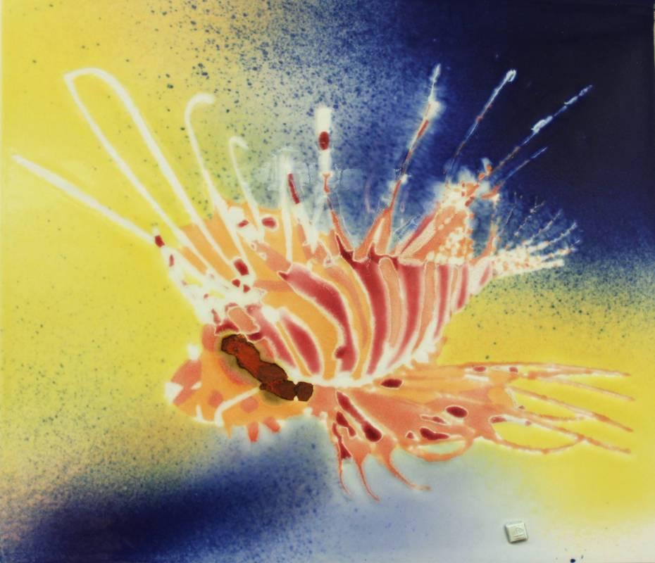 范振金, 獅子魚, 2018年, 37x32cm, 陶板釉彩 / FAN Zhen-Jin, Pterois, 2018, Ceramic glaze