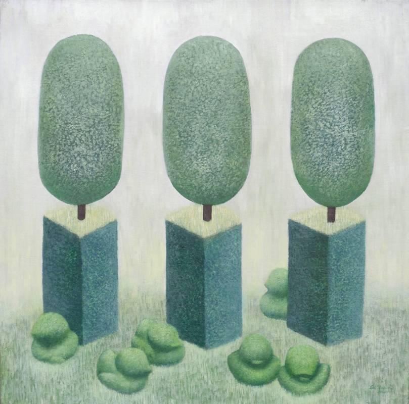 賴聖儒 草上鴨群 60×60cm 2014 油畫