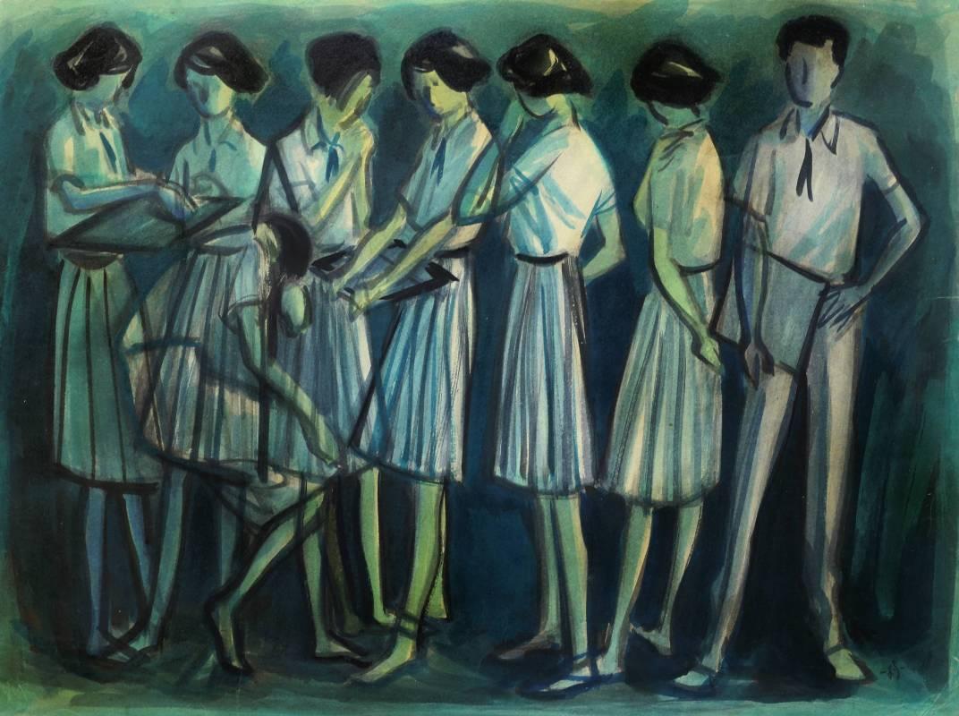 蕭如松, 學生群像,  約1977年, 80x60.5cm(25P),  水彩紙本 / HSIAO Ju-Sung, Students, 1977, 91x65cm(25P), Water colour