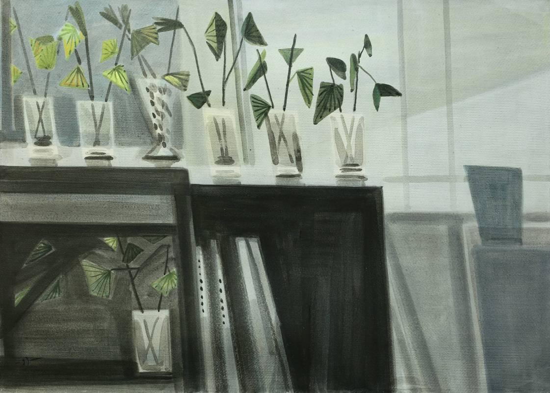 蕭如松, 靜物(畫室一角),  91x65cm(30P), 水彩紙本 / HSIAO Ju-Sung, Still-life, 91x65cm(30P), Water colour
