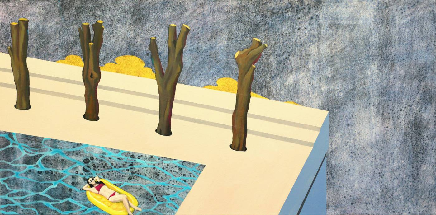 黃法誠, something, 2017年, 50×100cm, 壓克力顏料.碳粉.水泥漆 / HUANG Fa-Chen, something, 2017, 50×100cm, Mixed media on canvas