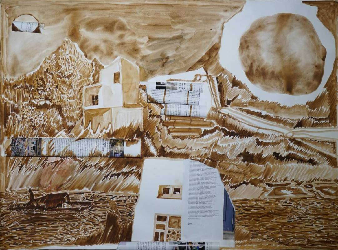 陳彧君 Chen Yujun_被延續的情景No. 171225 Been Continued Scene No. 171225_2017_紙本水彩、丙烯 Watercolor and acrylic on paper_55×75cm