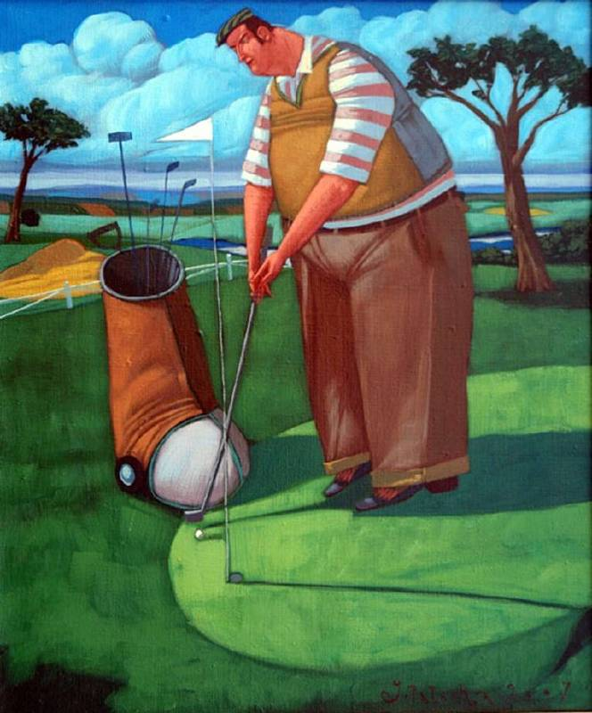 波蘭╱Jacek Palucha《Golfista przy do_ku》Oil on Canvas