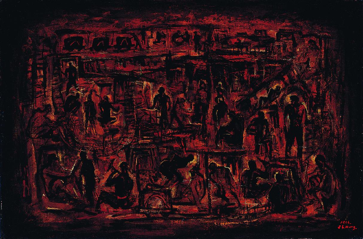 洪瑞麟 礦工頌 1966 油彩、畫布裱板 60×91cm