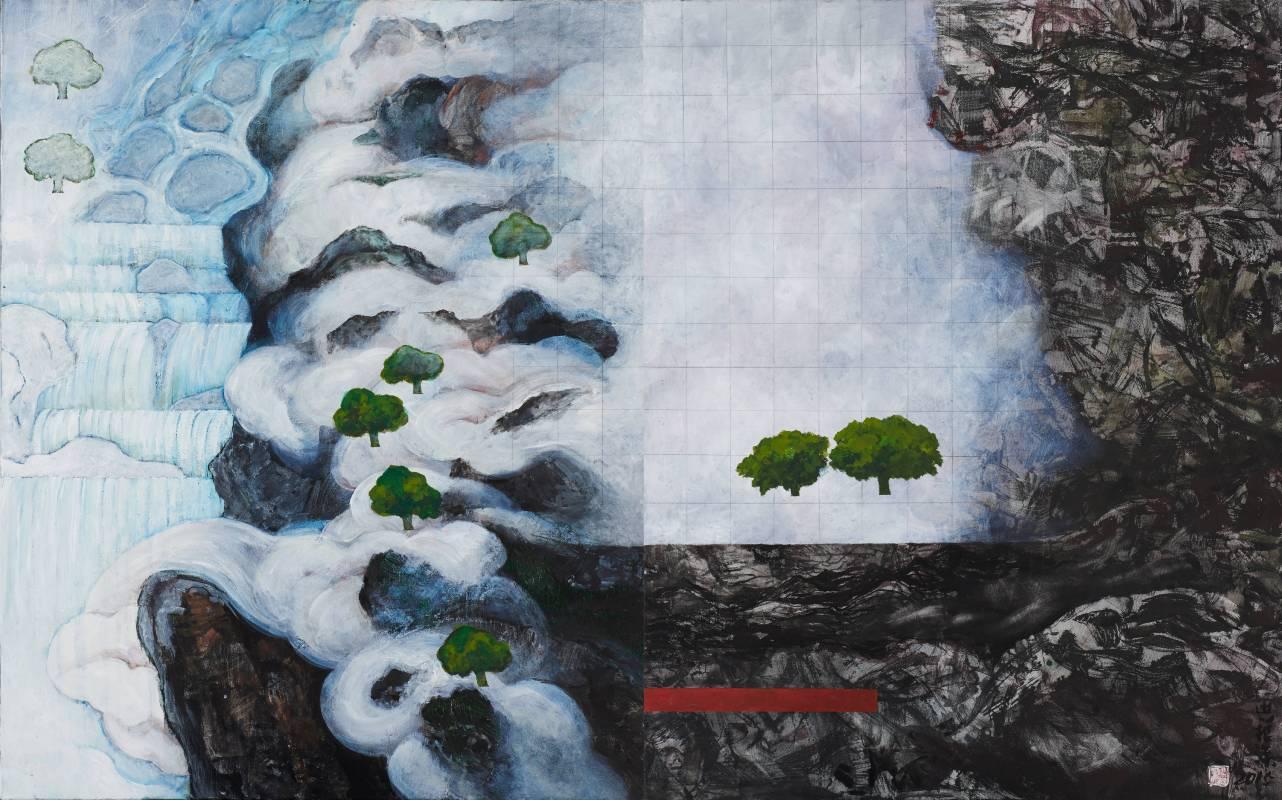 水雲間,  91x144cm, 壓克力彩、水墨、Gesso、畫布, 2015
