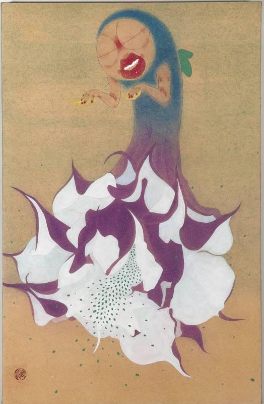<戲謔的天使> 45x70cm 紙本膠彩