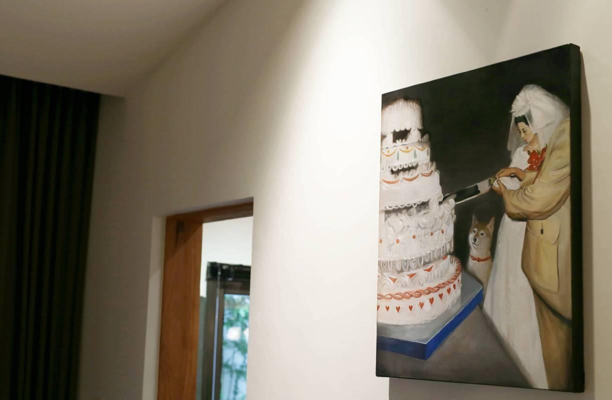 洪司丞 切蛋糕儀式 油彩.畫布《展示於 藏雪 202房》