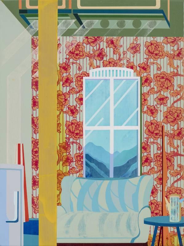 温孟瑜《緩慢地等待》,2017,壓克力顏料、畫布,30 x 40 cm