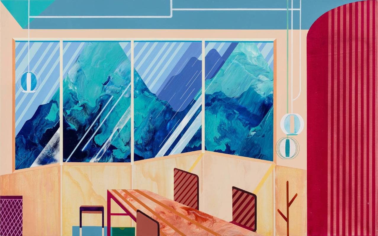 温孟瑜《山景的房間》,2018,壓克力顏料、畫布,80 x 50 cm